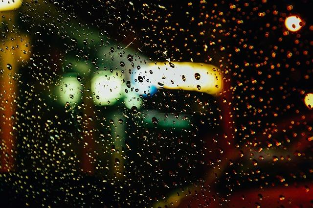 raindrops, windshield, car